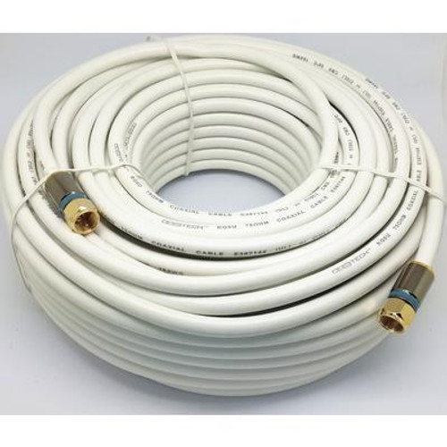100 Feet  WHITE RG-6 COAXIAL CABLE