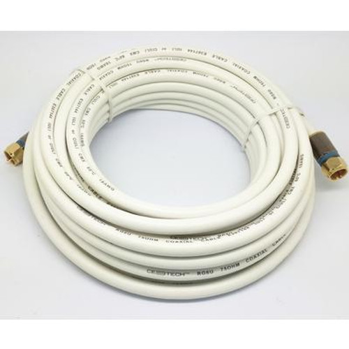25 Feet  WHITE RG6 COAXIAL CABLE