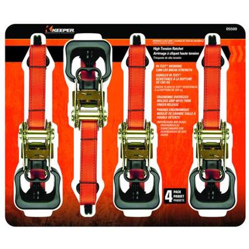 Tie-Down; 1.5'' x 16' Ratchet 1000lb WLL; Jumbo 4 Pack