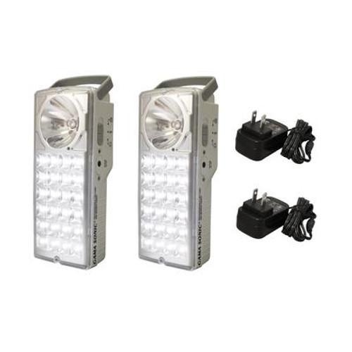 Rechargeable 24-LED Emergency Lantern/High-Beam Flashlight; Set of 2