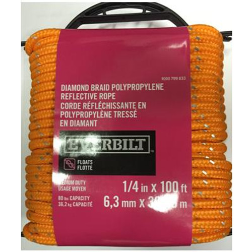 1/4'' x 100' ORANGE REFLECTIVE DIAMOND BRAID POLYPROPYLENE ROP