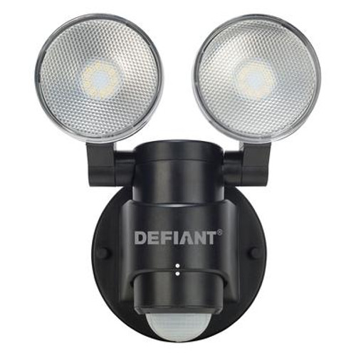 180-Degree 2-Head Outdoor Black Motion Activated Flood Light
