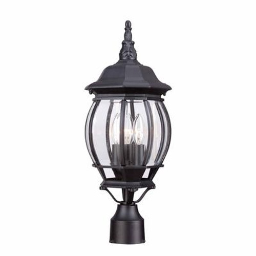 3-Light Outdoor Black Post Lantern