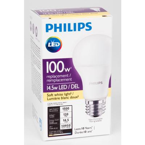 LED 14.5W = 100W A-Line (A19) Soft White Non-Dimmable (2700K) - Case of 4 Bulbs