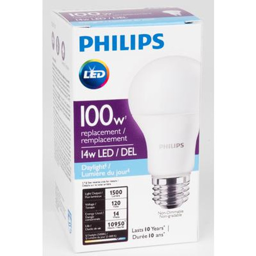 LED 14W = 100W A-Line (A19) Daylight Non-Dimmable (5000K) - Case of 4 Bulbs