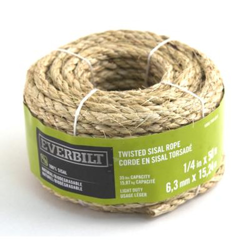 1/4 Inch  x 50 Feet  SISAL TWISTED NATURAL