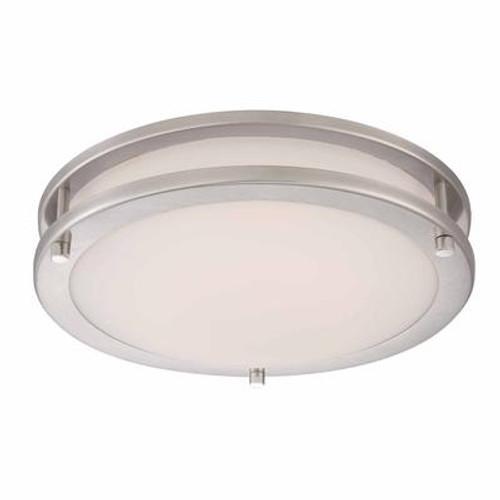 12in LED Flushmount; Brushed Nickel