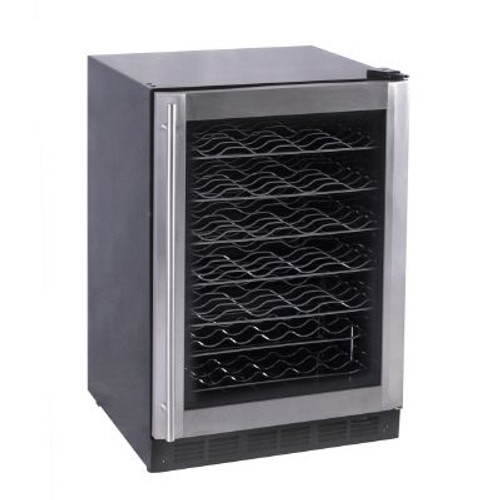 Stainless Steel and Black Wine Cooler  50-Bottle Capacity