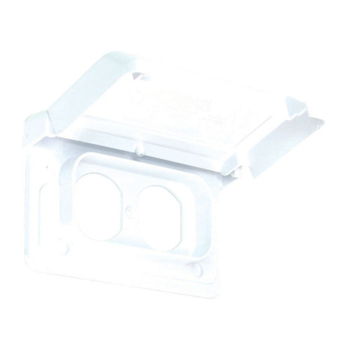 Weatherproof Single Gang Duplex Horizontal PVC Cover  White