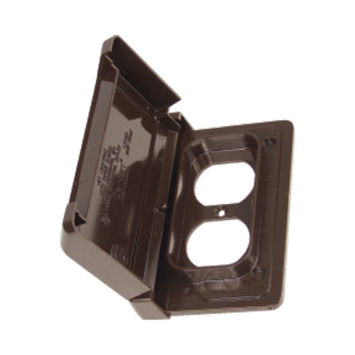 Weatherproof Single Gang Duplex Horizontal PVC Cover  Bronze