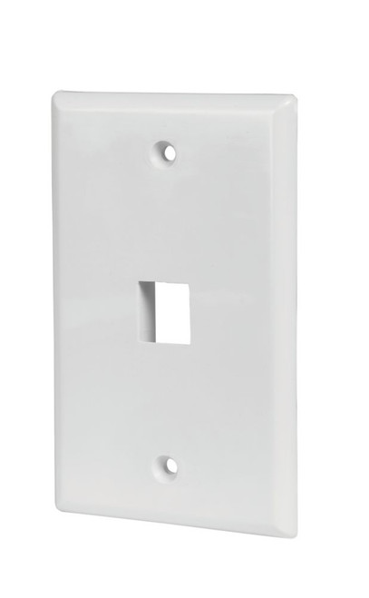1-PORT WALL PLATE, WHITE, 5 PK