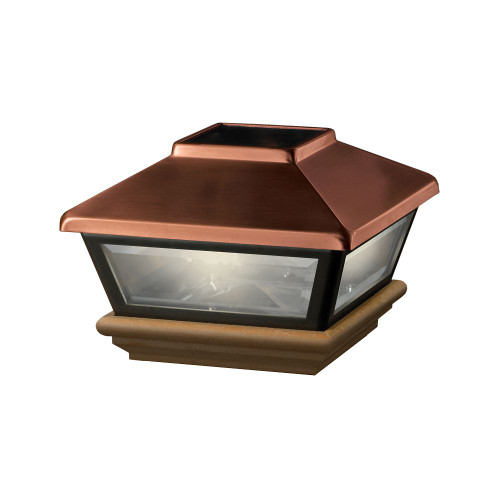 4x4 Post Cap - Copper Solar Light, Cedar Base
