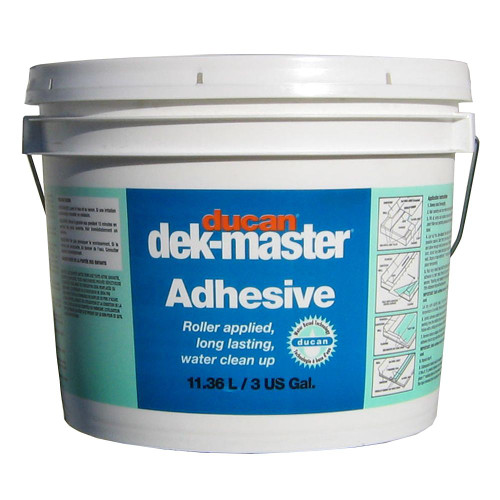 dek-master Regular Adhesive is a waterbased slow drying adhesive used for 45 mil grade vinyl or lower.  Allows for one hour of working time.