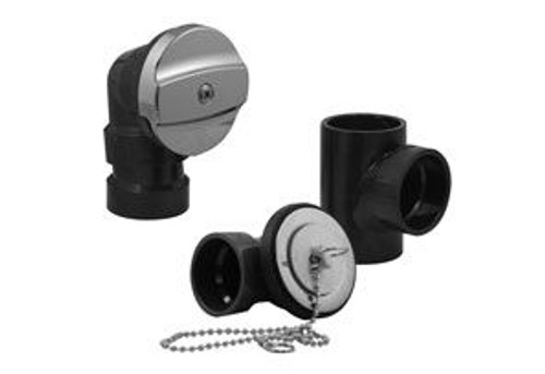 ABS Bath Tub Drain (Waste And Overflow) Kit (Less Pipe, With Tee) - Chrome W/Tee Plug and Chain Stopper