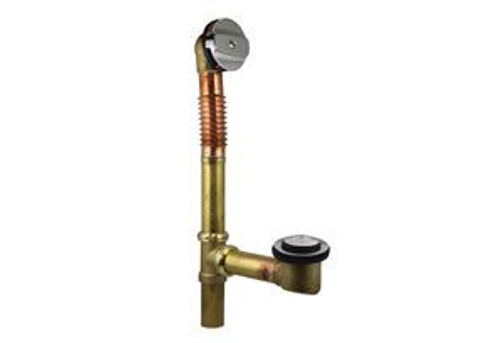 Brass Extended Bath Tub Drain (Waste And Overflow) - Chrome With Clicker Style Stopper