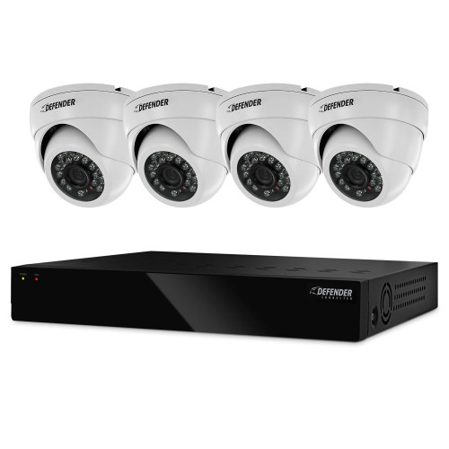 Defender Widescreen 8CH DVR With 2TB HDD And 4 X 800TVL Dome Cameras With 75ft Night Vision
