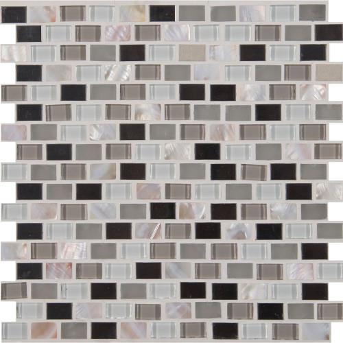 Keshi Blend 12 Inch.  X 12 Inch.  X 8 Mm Glass Metal Mesh-Mounted Mosaic Tile (10 Sq. Feet.  / Case)