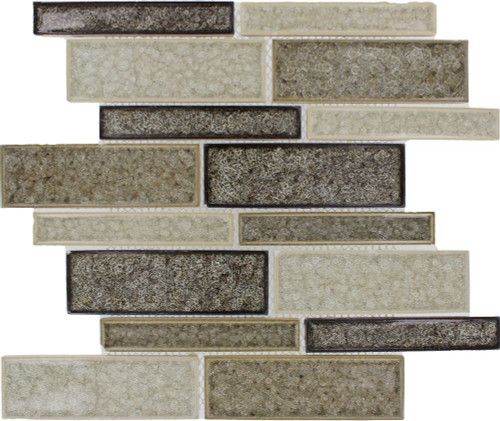 Fossil Canyon Interlocking 12 Inch.  X 12 Inch.  X 8 Mm Glass Mesh-Mounted Mosaic Tile (10 Sq. Feet.  / Case)