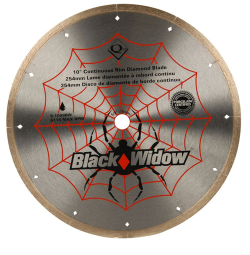 10 Inch Porcelain, Ceramic, Marble and Granite Wet Cutting Black Widow Diamond Blade