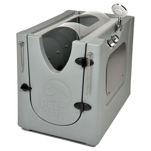 Pet Wash Enclosure with Splash Guard, Wheels & Removable Shelf