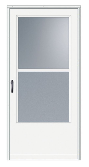 34 Inch Width, 100 Series Self-Storing, White Door, Black Hardware