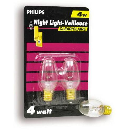 4 Watt Night Light Clear Candelabra (Small Base) Bulb 2 Pk