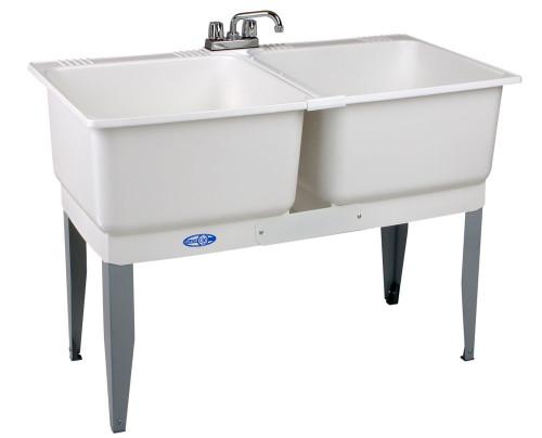 Utilatwin Comb Laundry Tub Faucet, Supply Line, P-Trap