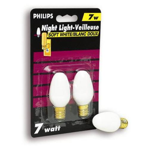 7 Watt Night Light White Candelabra (Small Base) Bulb 2 PK