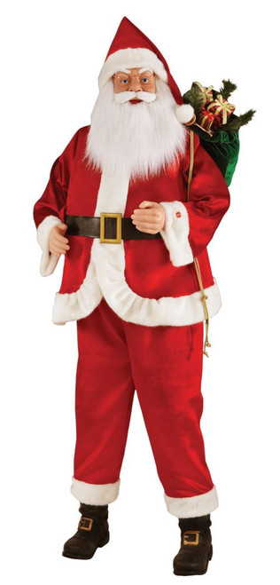 72 Inch KD Standing Santa With Animated Moving Hand, Animated Mouth Motion And Try-Me Feature  Requires 3 AA Batteries