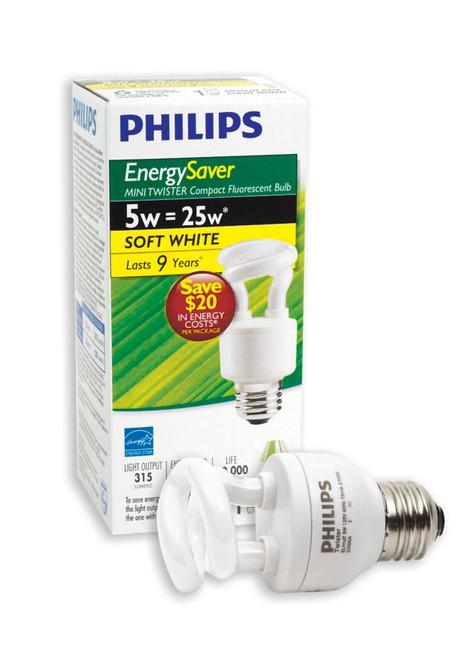 CFL  5W = 25W Mini Twister Soft White (2700K) - Case of 6 Bulbs