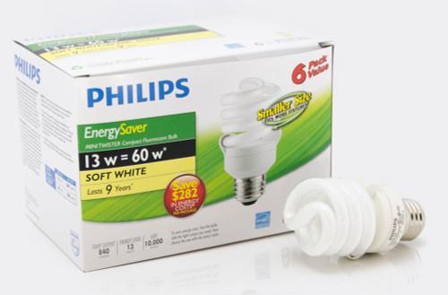 CFL 13W = 60W Mini Twister Soft White (2700K) - Case of 24 Bulbs