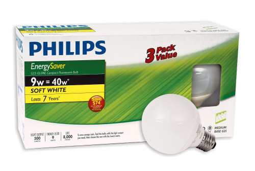 CFL 9W = 40W G25 Globe Soft White (2700K) - Case of 18 bulbs