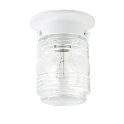 41342 6 Inch Outdoor Mason Jar Ceiling Mount, White Finish with Crystal Glass Shade