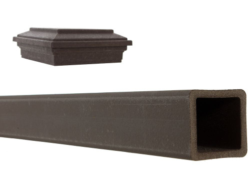 5 inches x 5 inches x 9 feet Woodland Brown Composite Fence Post with Flat Post Cap