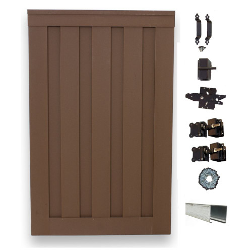 6 Feet x 4 Feet Saddle Composite Privacy Fence Single Gate with Hardware