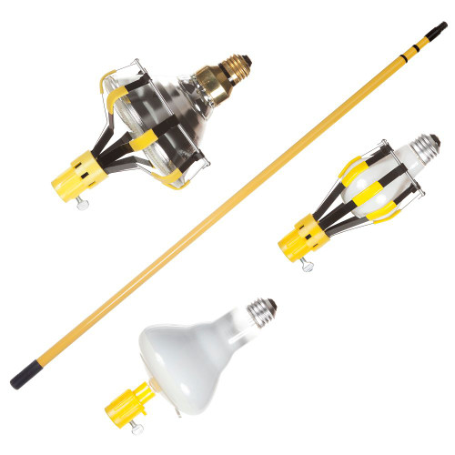 4-Piece Light Bulb Changer With 3-Section Steel Pole And 3 Light Bulb Changer Heads  11 Foot