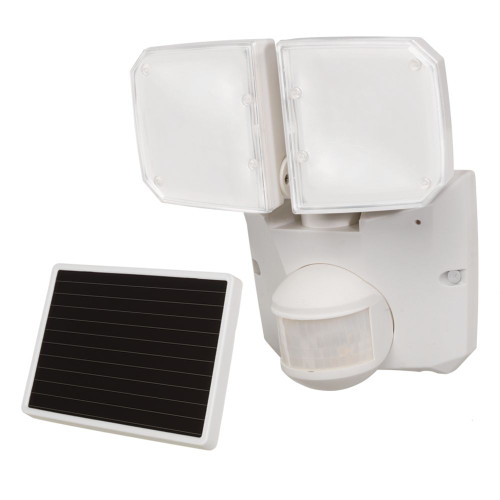 Defiant 180° Solar LED Twin Motion fixture, 520 Lumens, 5000K, White
