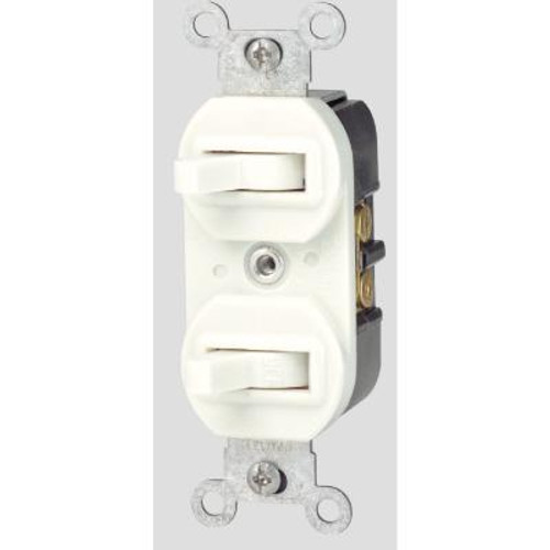 15 Amp Double Wall Switch - White