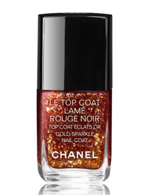 Chanel CHANEL LE TOP COAT LAMÉ ROUGE NOIR <br> GOLD SPARKLE NAIL COAT - ROUGE NOIR
