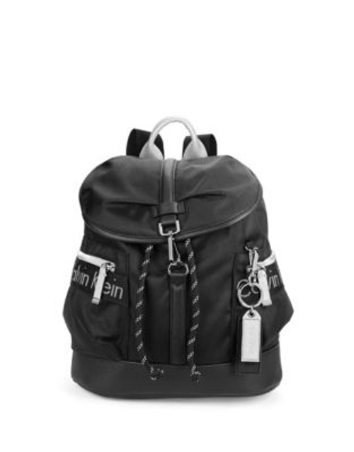 Calvin Klein Faux Leather-Accented Nylon Backpack - BLACK