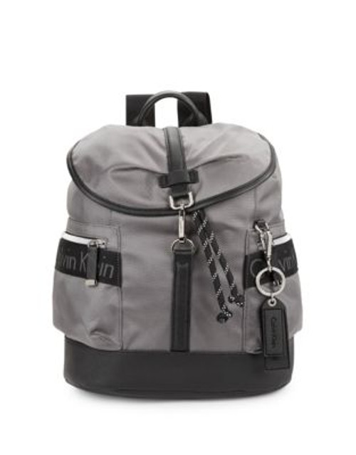 Calvin Klein Faux Leather-Accented Nylon Backpack - GREY
