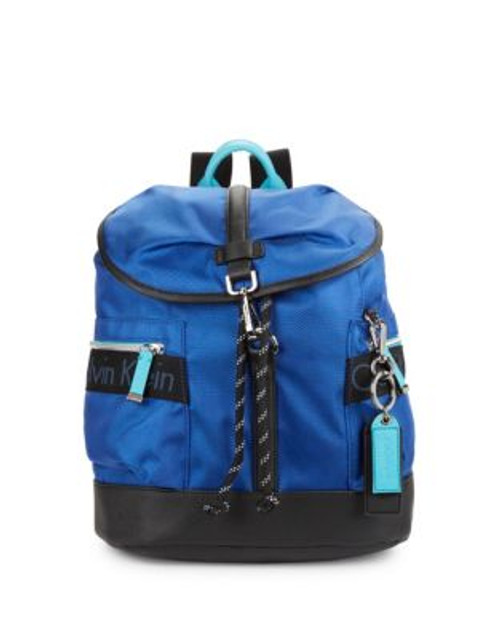 Calvin Klein Faux Leather-Accented Nylon Backpack - BLUE