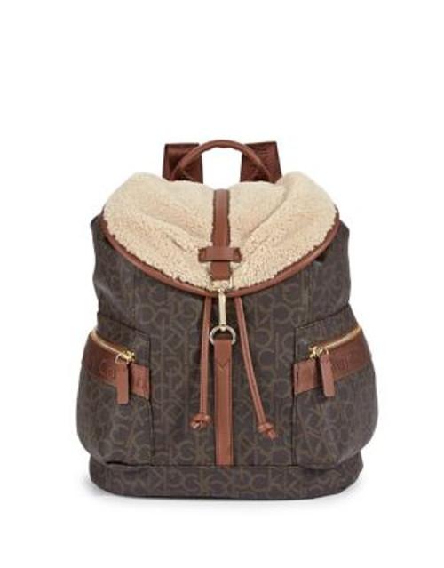 Calvin Klein Faux Shearling Trim Monogram Backpack - BROWN/KHAKI/LUGGAGE