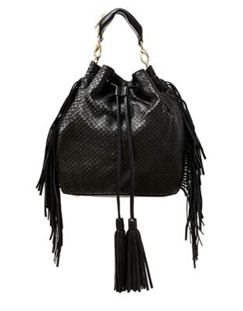 B Brian Atwood Ella Textured Leather Drawstring Bucket Bag - BLACK