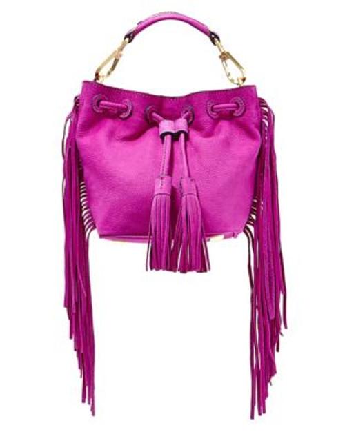 B Brian Atwood Pippa Suede Drawstring Bucket Bag - FUCHSIA