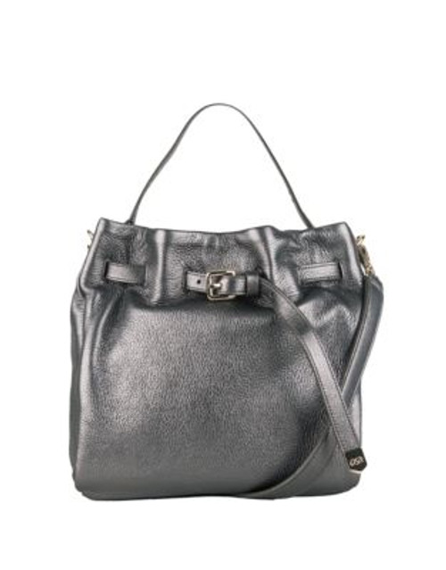 Cole Haan Expanded Leather Bucket Bag - DARK SILVER