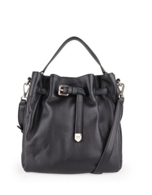 Cole Haan Expanded Leather Bucket Bag - BLACK