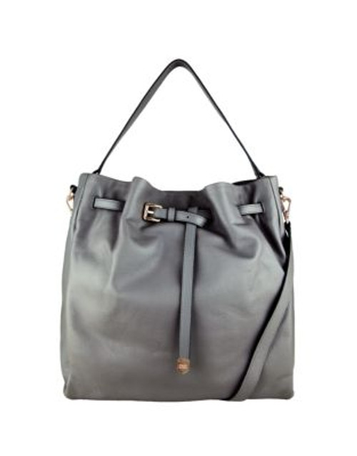 Cole Haan Small Leather Bucket Bag - DARK SILVER