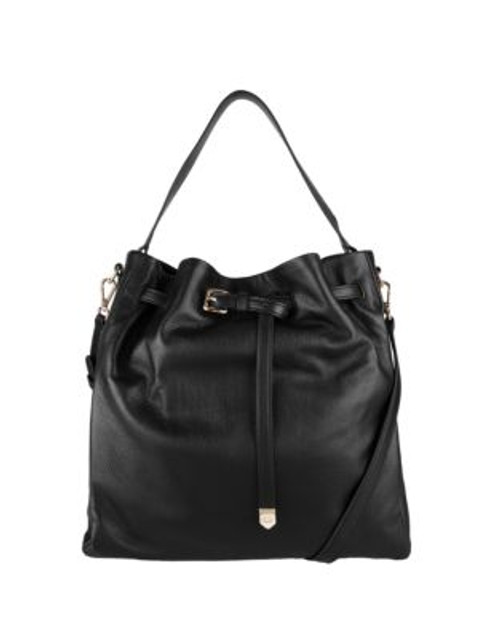 Cole Haan Small Leather Bucket Bag - BLACK
