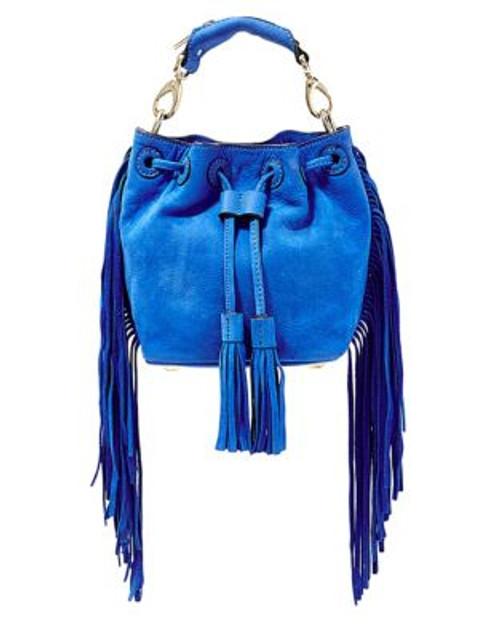B Brian Atwood Pippa Suede Drawstring Bucket Bag - COBALT
